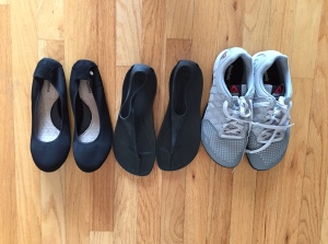 From left to right: foldable ballet flats for walking around and dressing up, Crocs' sexiest sandal for hostel showers and warm weather, and my Reebok Nanos for CrossFitting and seeing the sites.