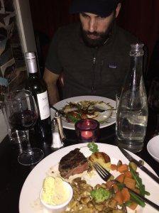 Our fabulous dinner at the Martello Inn. I didn't warn Dan I was snapping this shot!