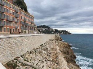 The coastline viewable from the walking path in Nice
