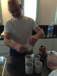 My Dad's innovative method for making coffee upon realizing there's no American coffee pot...