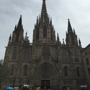 The commanding facade of a gothic cathedral