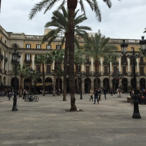 A shot of one of the many Ramblas, or plazas, of Barcelona.