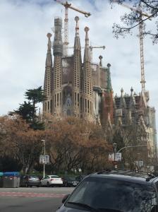 A distant view of the La Sagrada Familia