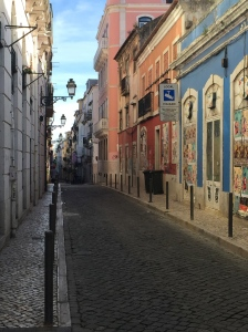 A Lisbon street showing some of the many colorful buildings