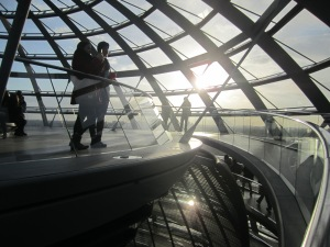 The observation deck at the top of the Reichstag building